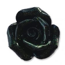 20mm BLACK Glitter Rose Resin Flatback Cabochon